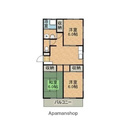 妻ヶ丘マンション[3LDK/59.62m2]の間取図