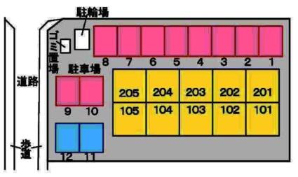 サイプレス フレンズ[1LDK/42.37m2]の配置図