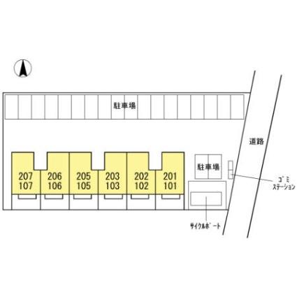 宮崎県都城市年見町[1LDK/40.43m2]の配置図