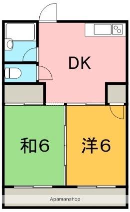 木野田マンションⅡ[2DK/39.7m2]の間取図