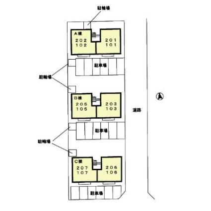 セジュールシャルマン A棟[2DK/48.79m2]の配置図