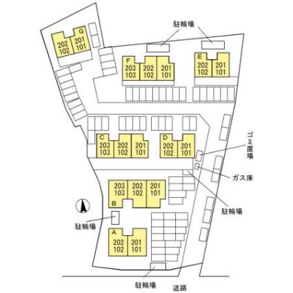 宮崎県宮崎市大字本郷北方[2LDK/53.68m2]の配置図
