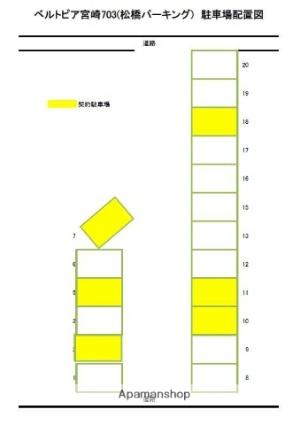 ベルトピア宮崎703[1K/26m2]の配置図