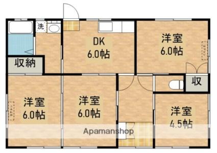 川西町福留貸家[4DK/67.68m2]の間取図