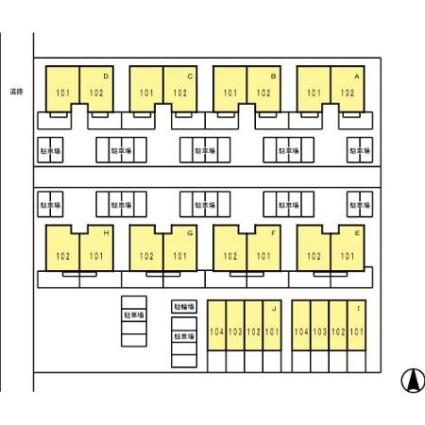 リースランド札元 I棟[1DK/42.65m2]の配置図